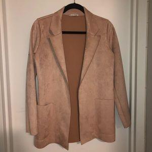 Zara blush faux suede blazer